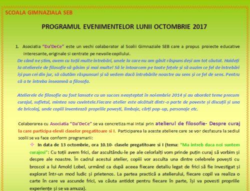 Programul evenimentelor lunii octombrie 2017