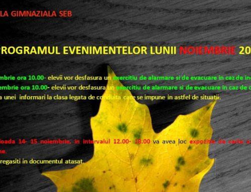 Program evenimente noiembrie 2017