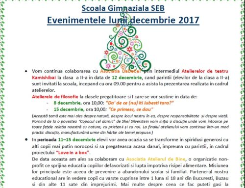 Program evenimente decembrie